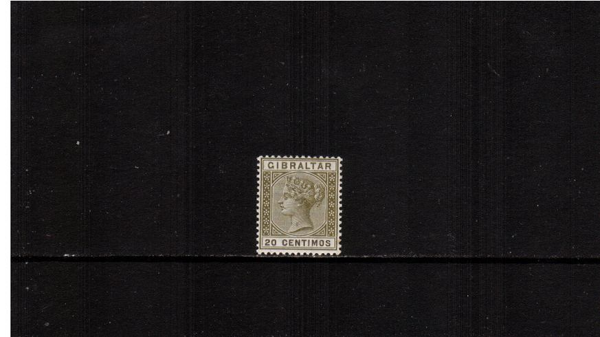 20c Olive-Green and Brown.<br/>A fine very, very lightly mounted mint single. 
