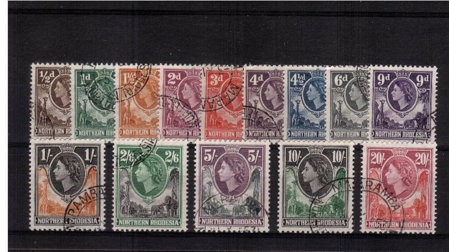 A superb fine used set of fourteen each stamp with a matched double ring cancel possibly soaked off a First Day Cover. Superb!