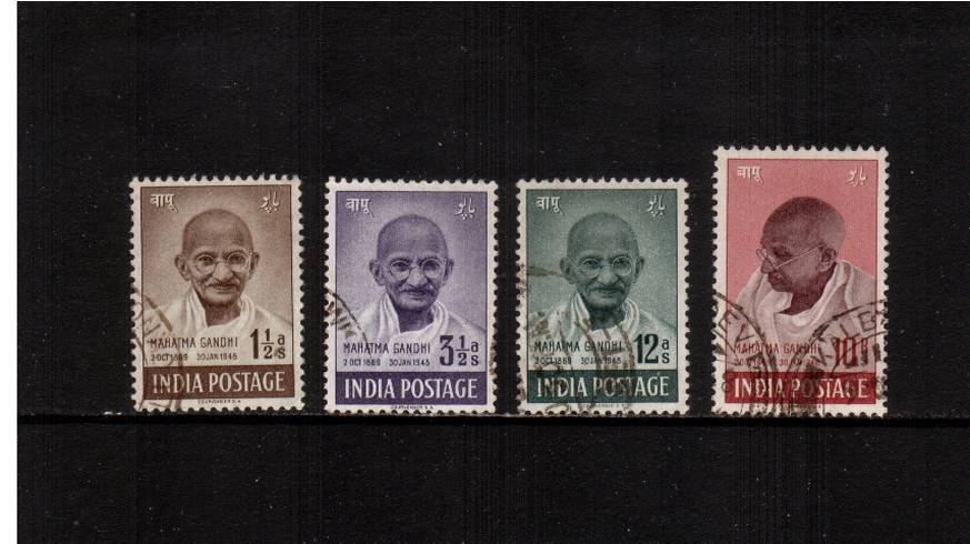 First Anniversary of Independence - Mahatma Gandhi.<br/>A fine used set of four of this popular issue.