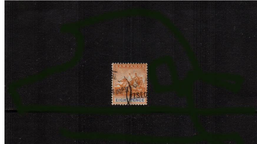 8d Orange and Ultramarine superb fine used cancelled<br/>with two strikes of a steel CDS. SG Cat �