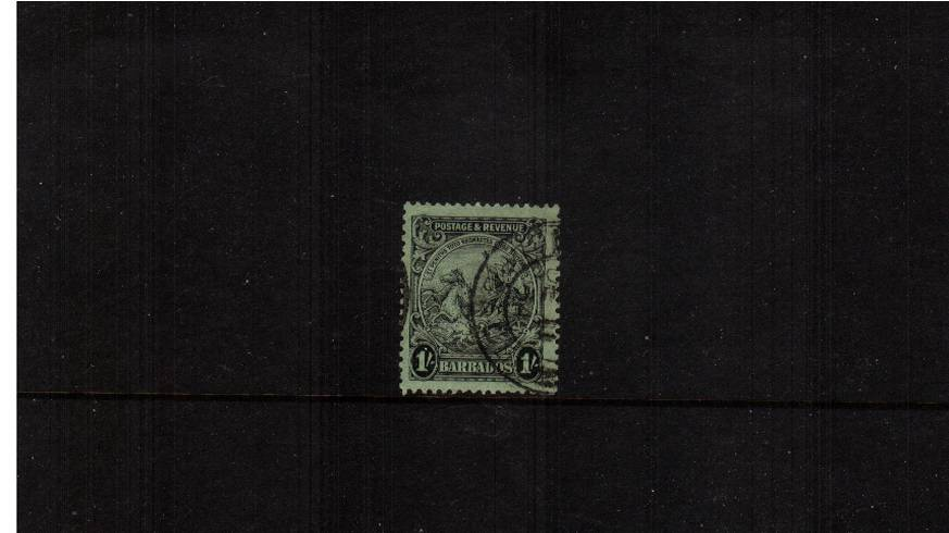 1/- Black on Emerald - Perforation 13絰12�  - ''Postage & Revenue''.<br/>A superb fine used single. SG Cat �
