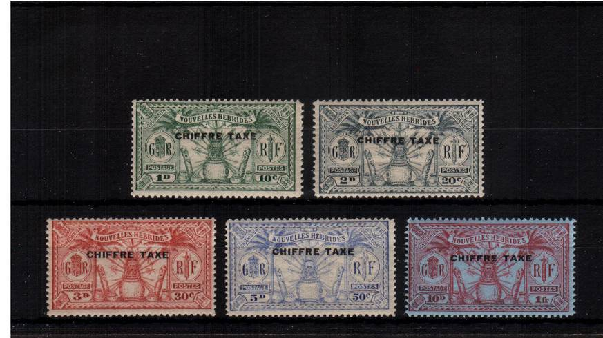 The POSTAGE DUE  overprinted ''CHIFFRE TAXE''.<br/>A superb unmounted mint set of five. Rare set unmounted!