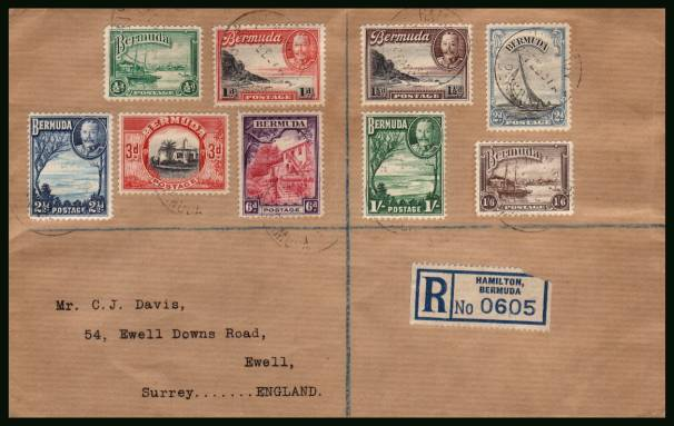 The complete George 5th definitive set of nine on a neatly typed addressed REGISTERED cover cancelled with a light indistinct BERMUDA steel CDS and backstamped REGISTERED - EPSOM dated 2 MR 37