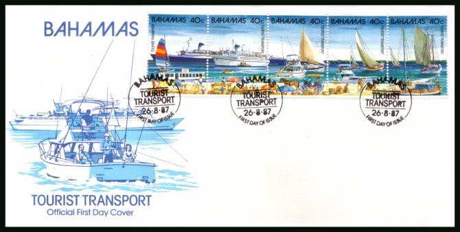 Tourist Transport strip of five part of set<br/>on an unaddressed illustrated FDC