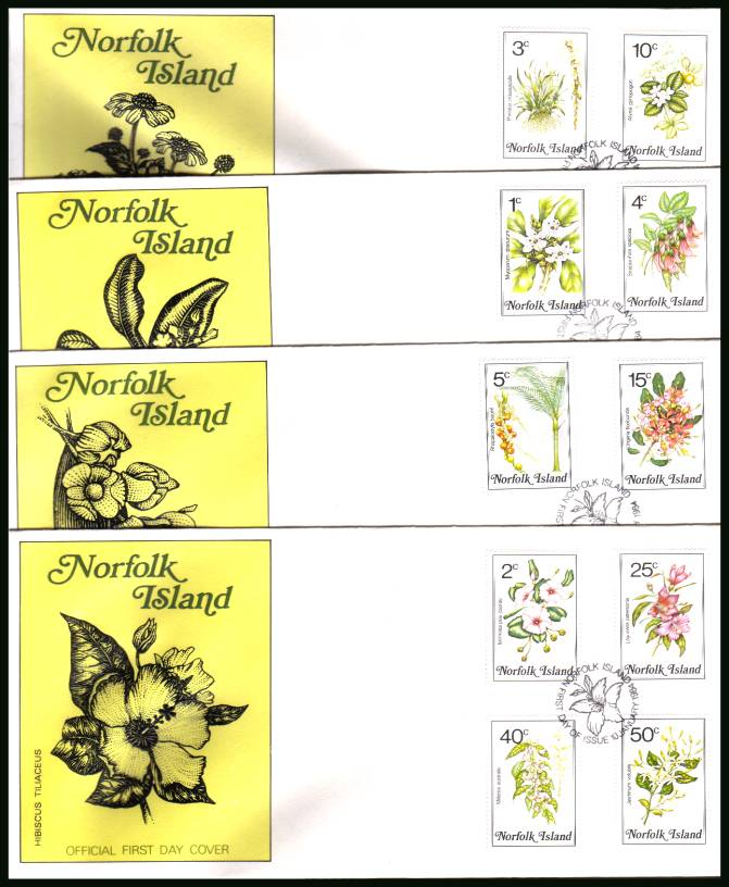 Flowers definitive set of sixteen on four unaddressed First Day Covers. <br/>Note grey areas are scanner faults - covers are perfect!