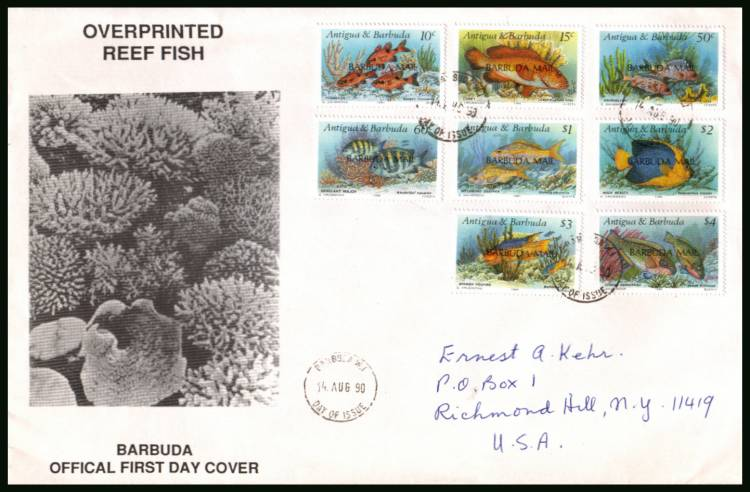 Reef Fishes<br/>on a hand addressed First Day Cover to New York USA