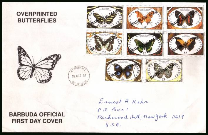 Butterflies<br/>on a hand addressed First Day Cover to New York USA