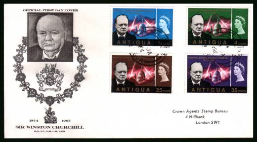 Churchill Commemoration<br/>on an addressed First Day Cover
