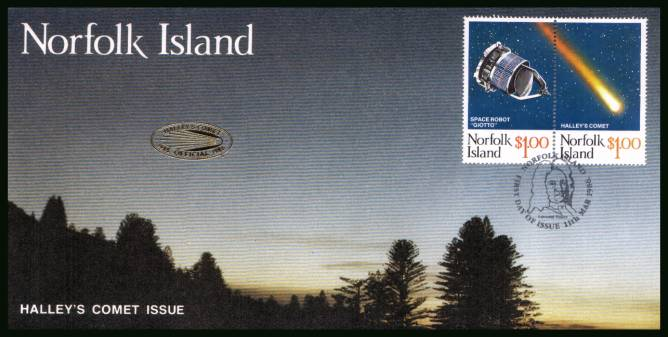 Appearance of Halley's Commet pair<br/>on an unaddressed First Day Cover
