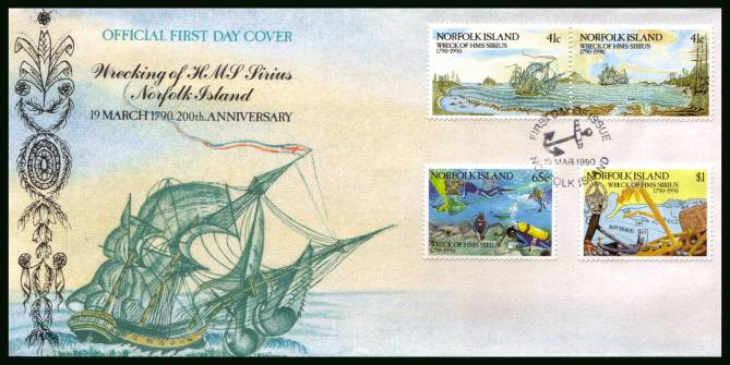 Bicentenary of Wreck of H.M.S. Sirius<br/>on an unaddressed First Day Cover