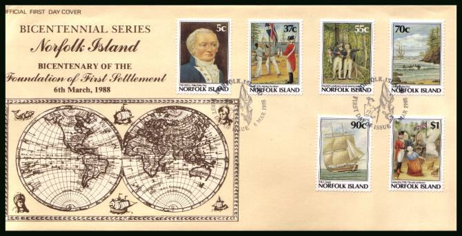 Bicentenary of Norfolk Island Settlement - 6th Issue<br/>on an unaddressed First Day Cover
