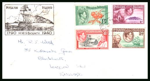 The first four stamps of the country on a cacheted envelope<br/>cancelled with an indistinct double ring CDS to LONDON.
