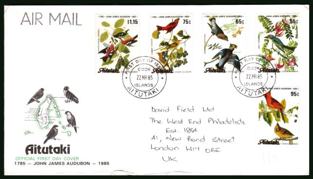 Birth Bicentenary of John J Audubon - Birds<br/>on an illustrated hand addressed First Day Cover