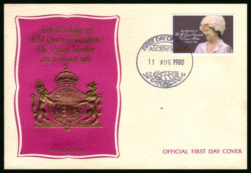80th Birthday of THe Queen Mother<br/>on an official unaddressed official First Day Cover