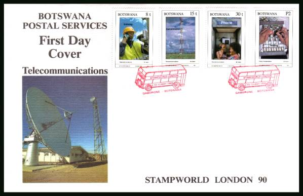 ''Stamp World London '90'' - Telecommunications<br/>on an official illustrated First Day Cover
