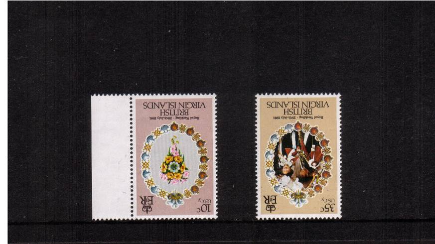 Royal Wedding<br/>The two INVERTED WATERMARK stamps from the set, one being marginal both<br/>superb unmounted mint.