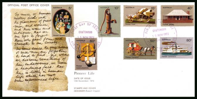 Pioneer Life<br/>on an official unaddressed First Day Cover