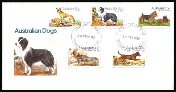 Dogs<br/>on an official unaddressed First Day Cover
