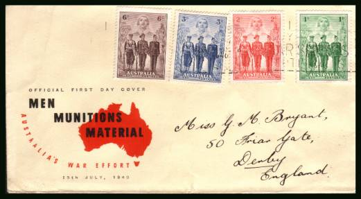 Australian Imperial Forces<br/>on a hand addressed Official First Day Cover.<br/>sadly the cancel is so light that it cannot be seen so priced just as used.