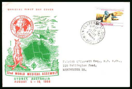 World Medical Association Assembly single<br/>on an official neatly typed addressed First Day Cover - address may vary.