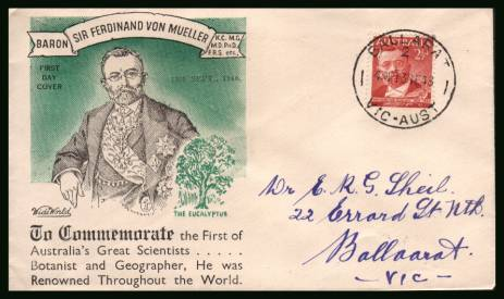 Sir Ferdinand von Mueller - Botanist<br/>on a hand addressed First Day Cover