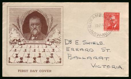 William J. Farrer - Wheat Research<br/>on a neat hand addressed First Day Cover