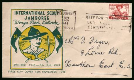 Scout Jamboree<br/>on a hand addressed First Day Cover