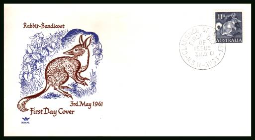 Common Rabbit-Bandicoot definitive single <br/>on an unaddressed First Day Cover