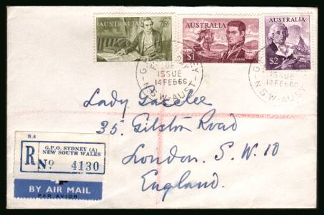 Navigators 75c, $1 and $2  <br/>on a plain hand addressed REGISTERED First Day Cover clearly dated.