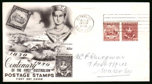 Centenary of First Adhesive Stamps in Australia<br/>on a hand addressed First Day Cover
