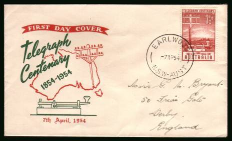 Australian Telegraph System Centenary<br/>on a hand addressed First Day Cover