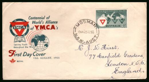World Centenary of YMCA<br/>on a neat hand addressed First Day Cover