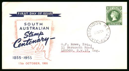 Centenary of First South Australian Postage Stamps<br/>on a neatly typed addressed First Day Cover