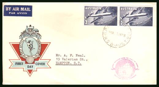 Inaguration of Australian ''Round the World'' Air Service<br/>on a neat hand addressed First Day Cover