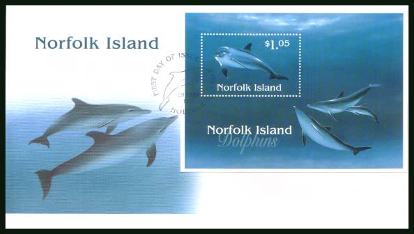 Dolphoins minisheet<br/>on an illustrated unaddressed First Day Cover