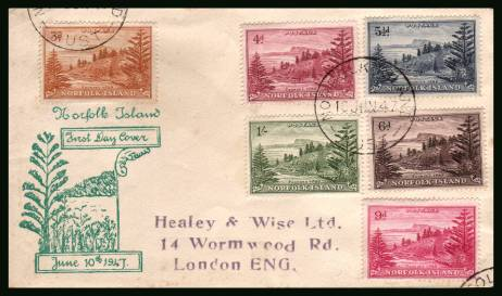 A range of values from the first definitive set<br/>on a plain addressed First Day Cover