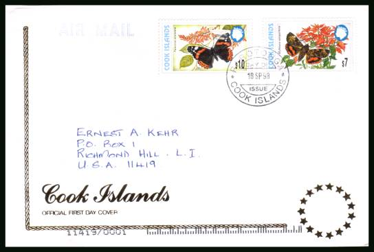 Part of the Butterflies definitive set<br/>on an illustrated official hand addressed First Day Cover