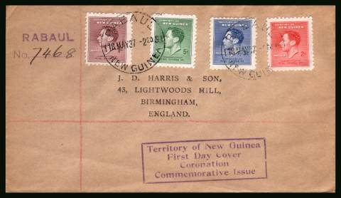 Coronation set of four<br/>on a printed addressed  REGISTERED First Day Cover.