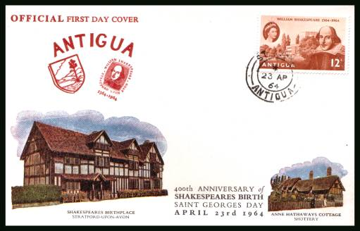 400th Birth Anniversary of William Shakespeare<br>on an official unaddressed First Day Cover