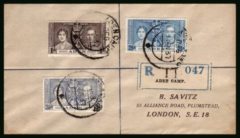 The Coronation set of three<br/>on a REGISTERED cover . Note this is NOT a First Day Cover