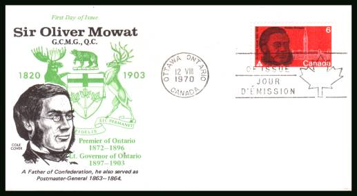 Sir Oliver Mowat single<br/>on an unaddressed First Day Cover.