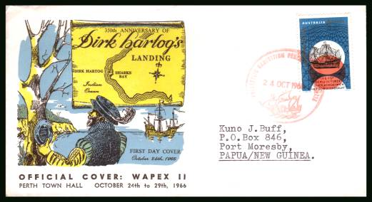350th Anniversry of Dirk Hartog's Landing in Australia<br/>on an official typed addressed First Day Cover