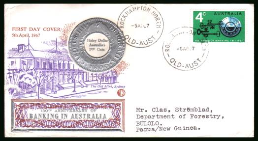 150th Anniversary of Australian Banking<br/>on a typed addressed First Day Cover