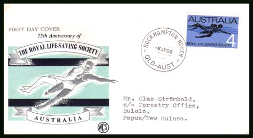 75th Anniversary of Royal Life Saving Society<br/>on a typed addressed First Day Cover
