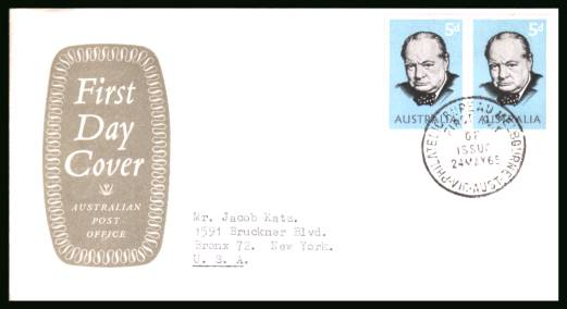 Chirchill Commemoration single as a pair<br/>on a typed addressed First Day Cover