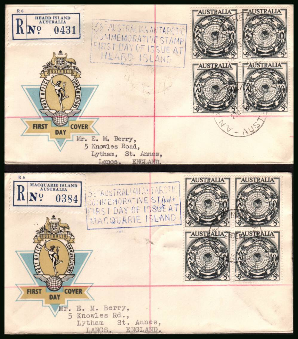 Australian Antarctic Territory single as a block of four on two ''matched'' OFFICIAL typed addressed First Day Covers. Each cover has the special handstamp for the first day at HEARD ISLAND & MACQUARIE ISLAND dated 28DEC54. Mainland FDI was 17NOV54.