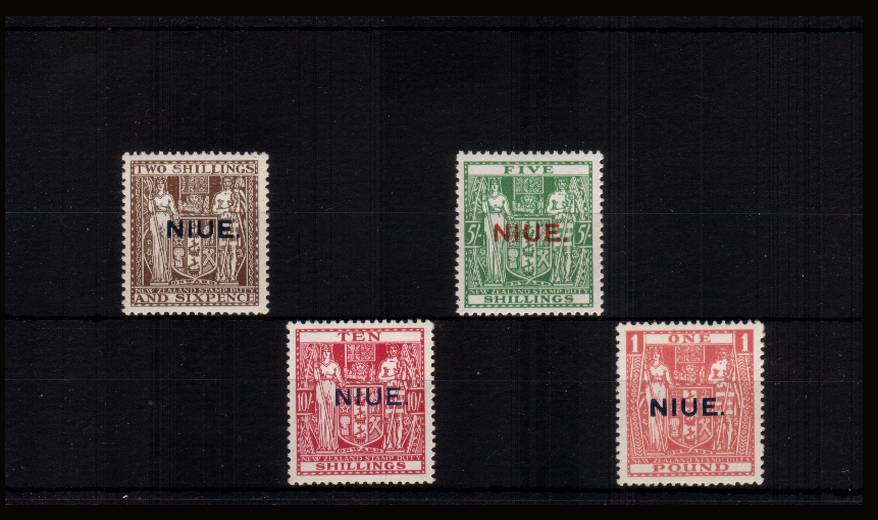 The New Zealand ''ARMS'' overprint set of four superb unmounted mint. Difficult set to find especially unmounted!