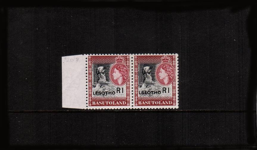 1R Black and Maroon in a left side horizontal pair superb unmounted mint showing the overprint error ''LSEOTHO'' in pair with normal.