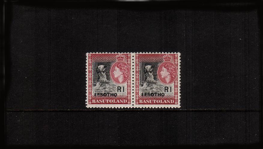 1R Black and Maroon in a  horizontal pair superb unmounted mint showing the overprint error ''ISEOTHO'' in pair with normal. 