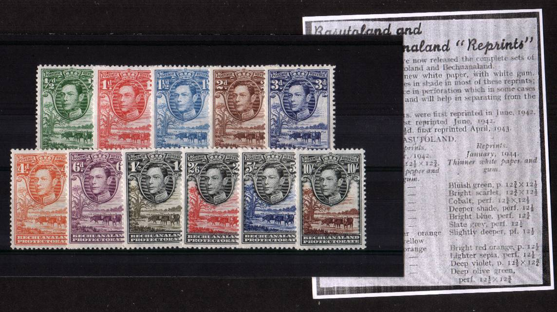 The complete George 6th set - The ''reprint'' set of eleven made in 1944 on whiter papers taken from a specialist collection together with a scan from a contemporary stamp magazine detailing same. One for the specialist!